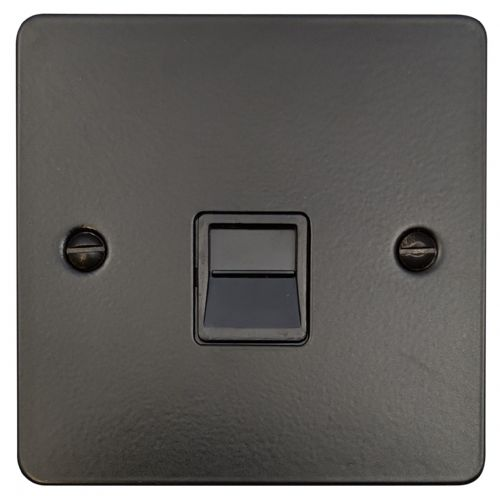 G&H FFB34B Flat Plate Matt Black 1 Gang Slave BT Telephone Socket